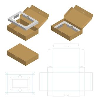 Caixa de pacote de papelão ondulado cortado com 3d mock up