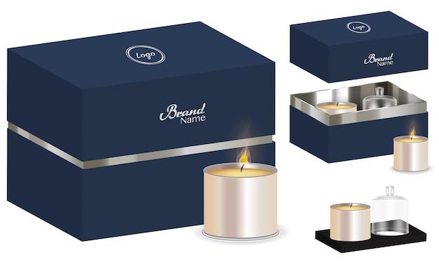 Caixa de pacote de vela aroma design 3d mockup