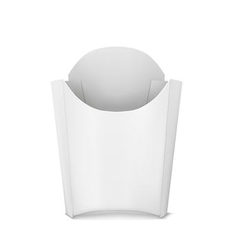 Caixa de papel branco uma batata frita isolada no fundo branco. vista frontal.