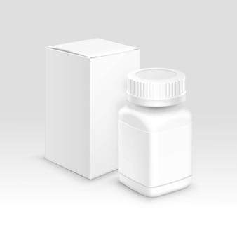 Caixa de papel de embalagem médica em branco e garrafa para comprimidos