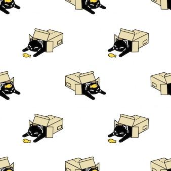 Caixa de papel de gato sem costura padrão gatinho