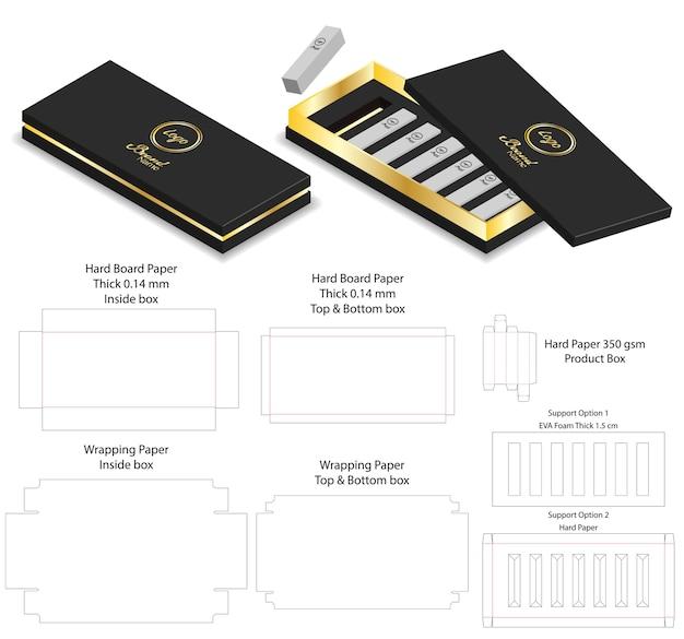 Caixa de papel de luxo forma forproduct pacote dieline