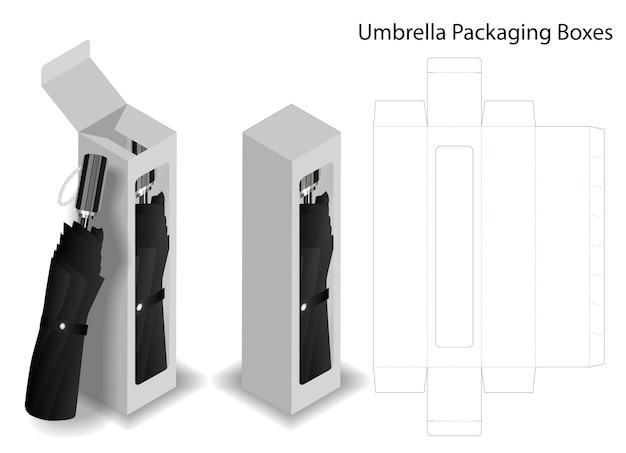 Caixa de papel duro para embalagem guarda-chuva com dieline