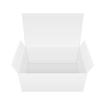 Caixa de papel retangular aberta em branco.