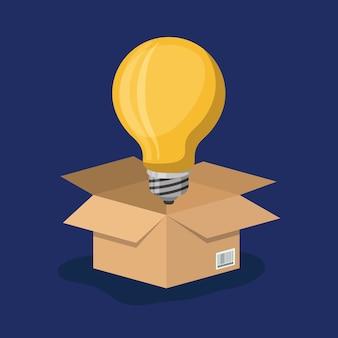 Caixa de papelão aberta com grande lâmpada