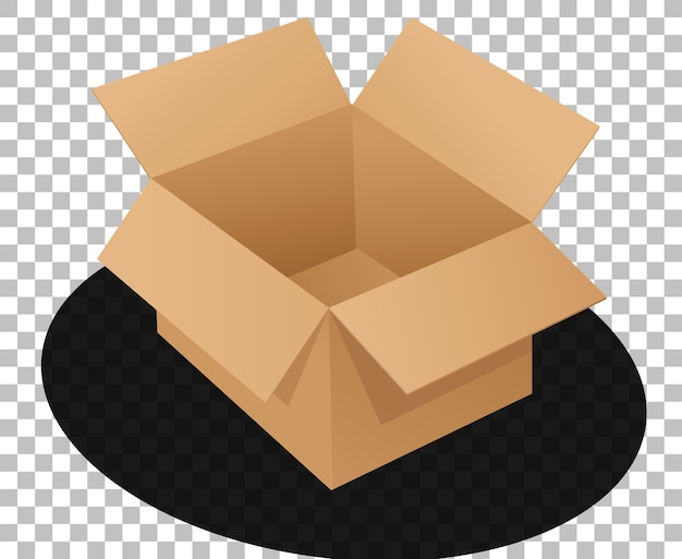Caixa de papelão aberta estilo cartoon isolado