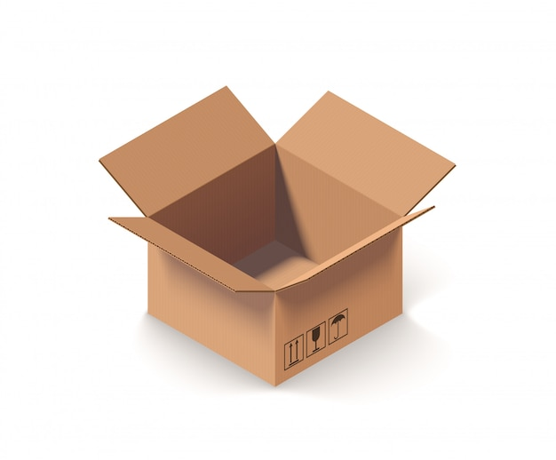 Caixa de papelão aberta vazia isolada na ilustração vetorial isométrica branca