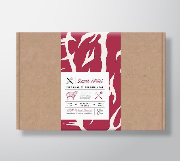Caixa de papelão artesanal de filé de cordeiro de qualidade premium.