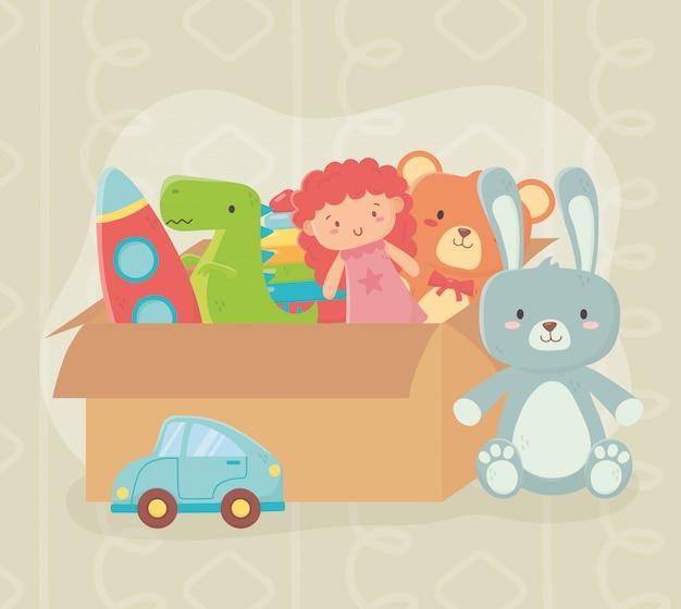Caixa de papelão cheia de brinquedos diferentes