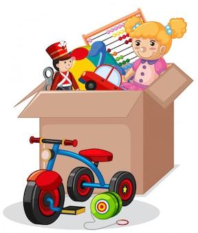 Caixa de papelão cheia de brinquedos isolados