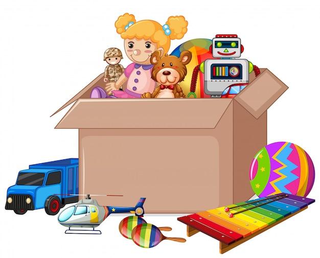 Caixa de papelão cheia de brinquedos