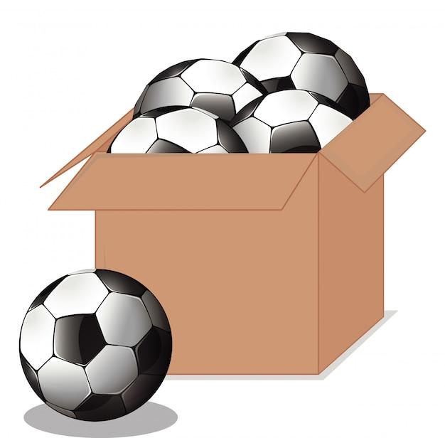 Caixa de papelão cheia de equipamentos de esporte em branco