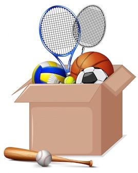 Caixa de papelão cheia de equipamentos de esporte isolados