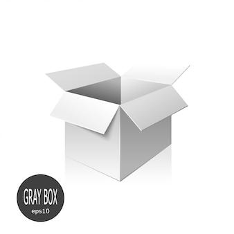 Caixa de papelão cinza isolada no fundo branco.