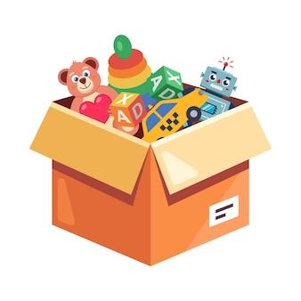 Caixa de papelão com brinquedos infantis