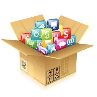 Caixa de papelão com conjunto de ícones