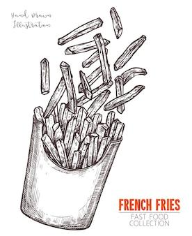 Caixa de papelão com esboço desenhado de mão de batatas fritas. esboço preto gravura design refeição fast-food.