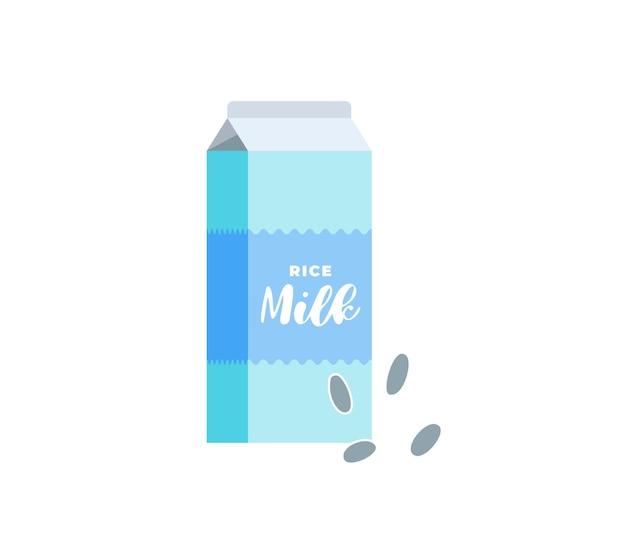 Caixa de papelão com leite de arroz. pacote de bebida vegetariana sem lactose. embalagem cartonada de bebidas lácteas ecológicas de grãos vegan saudáveis. ilustração de eps vetorial plana isolada