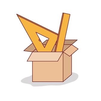 Caixa de papelão com régua ajustada