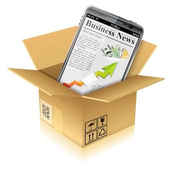 Caixa de papelão com telefone inteligente