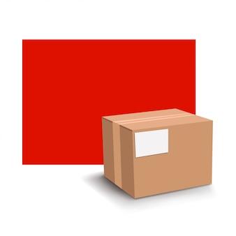 Caixa de papelão com vermelho