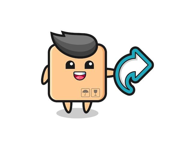 Caixa de papelão fofa com símbolo de compartilhamento de mídia social, design de estilo fofo para camiseta, adesivo, elemento de logotipo
