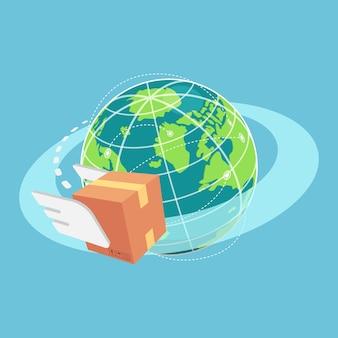 Caixa de papelão isométrica 3d plana voando ao redor do mundo. conceito global de remessa e logística.