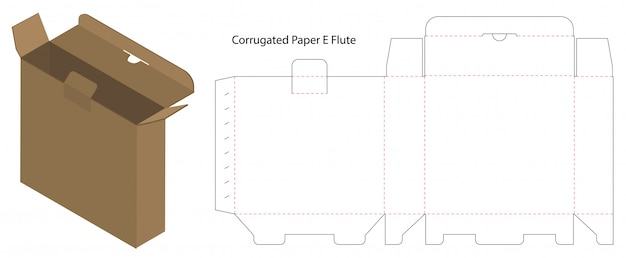 Caixa de papelão ondulado cortado com 3d mock up