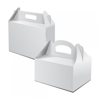 Caixa de papelão. para bolo, fast food, presente, etc. Vetor Premium