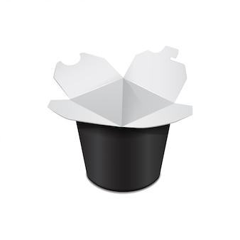 Caixa de papelão preto banheira de alimentos. comida asiática. frigideira chinesa, udon, arroz, kimchi, soba, cristal, macarrão de vidro. modelo