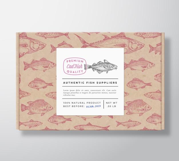 Caixa de papelão realista padrão de peixe com banner