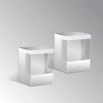 Caixa de papelão realista sobre fundo branco.