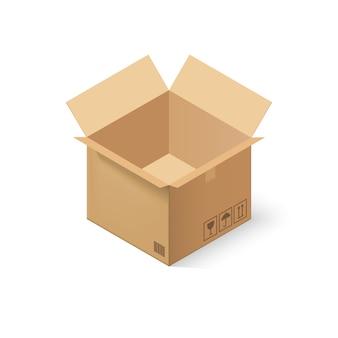 Caixa de papelão vazia aberta