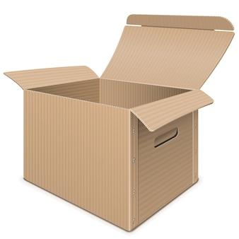 Caixa de papelão vazia isolada no fundo branco