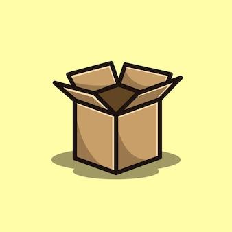 Caixa de papelão vecorizada aberta