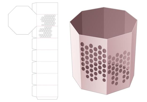 Caixa de papelaria octogonal com molde de pontos estampados