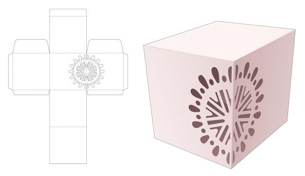 Caixa de papelaria trapizóide com molde de mandala estampado