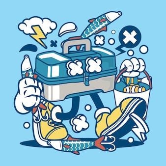 Caixa de pesca dos desenhos animados