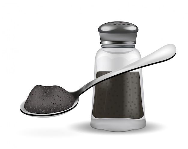 Caixa de pimenta realista e colher com pimenta. sobre fundo branco. frasco de vidro para especiarias. ilustração.
