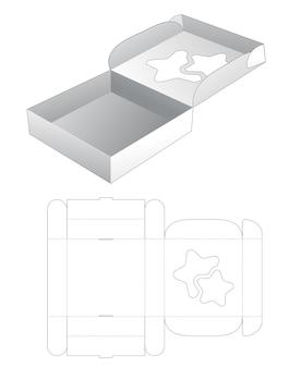 Caixa de pizza dobrável com molde de janela em formato de estrela