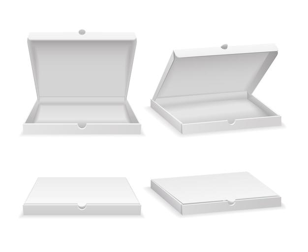 Caixa de pizza vazia isolada no branco. caixa de papelão aberta, caixa branca fechada para fast food. ilustração