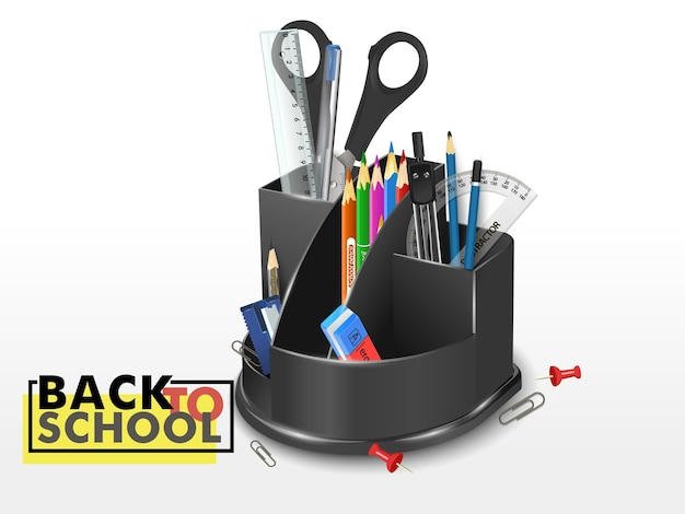 Caixa de plástico com papelaria e ferramentas de desenho