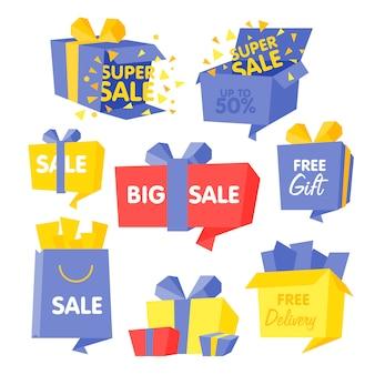 Caixa de preço e venda conjunto de ilustrações