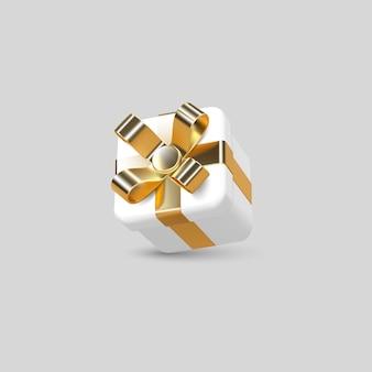 Caixa de presente 3d embrulhada em fita dourada