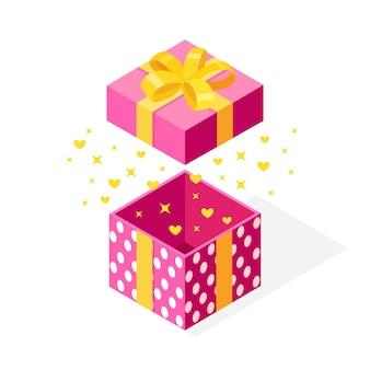Caixa de presente 3d isométrica com arco, fita isolada. abra a embalagem com confete brilhante.