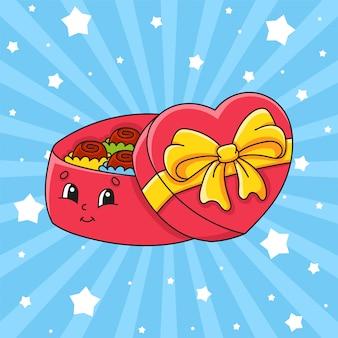 Caixa de presente aberta com chocolates. personagem de desenho bonito