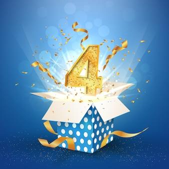 Caixa de presente aberta de quatro anos de aniversário de bolinhas com confetes explosivos