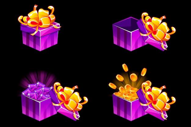 Caixa de presente aberta e fechada. presente isométrico dos desenhos animados com moedas e pedras preciosas, ícones de bônus para recursos do jogo de interface do usuário. Vetor Premium