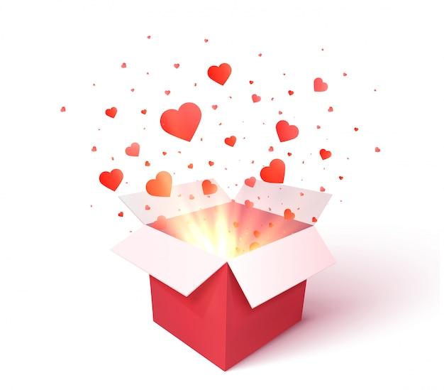 Caixa de presente aberto com confetes de forma de coração explosão explosão. dia dos namorados 3d. presente romântico