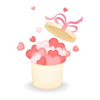 Caixa de presente aberto com laço de fita rosa e cheio de corações, caixa de amor. presente doce para dia dos namorados. ilustração.